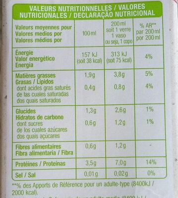 Boisson au soja nature Bio - Valori nutrizionali - fr