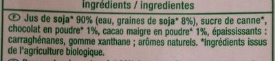 Jus de Soja Goût Chocolat biologique - Ingredients - fr