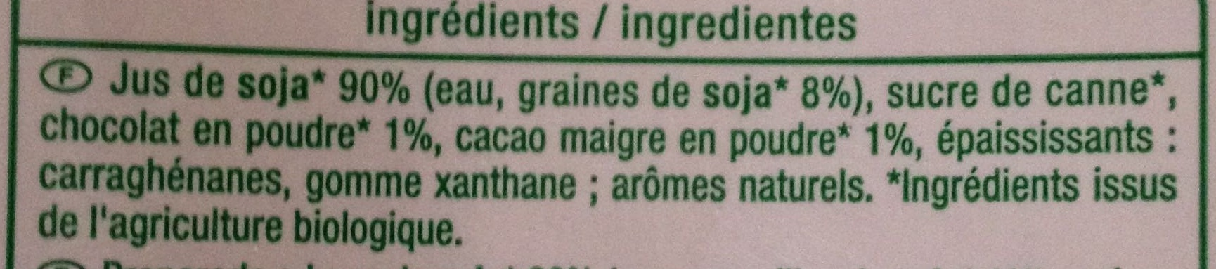 Jus de Soja Goût Chocolat biologique - Ingrédients