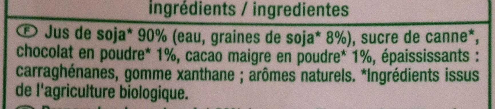 Boisson au soja saveur chocolat - Ingredients