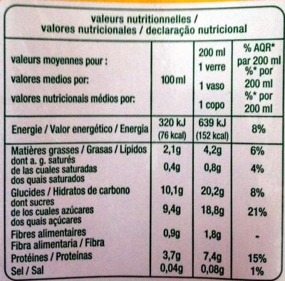 Jus de Soja Goût Chocolat biologique - Informations nutritionnelles