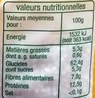 Quinoa bio - Voedingswaarden - fr