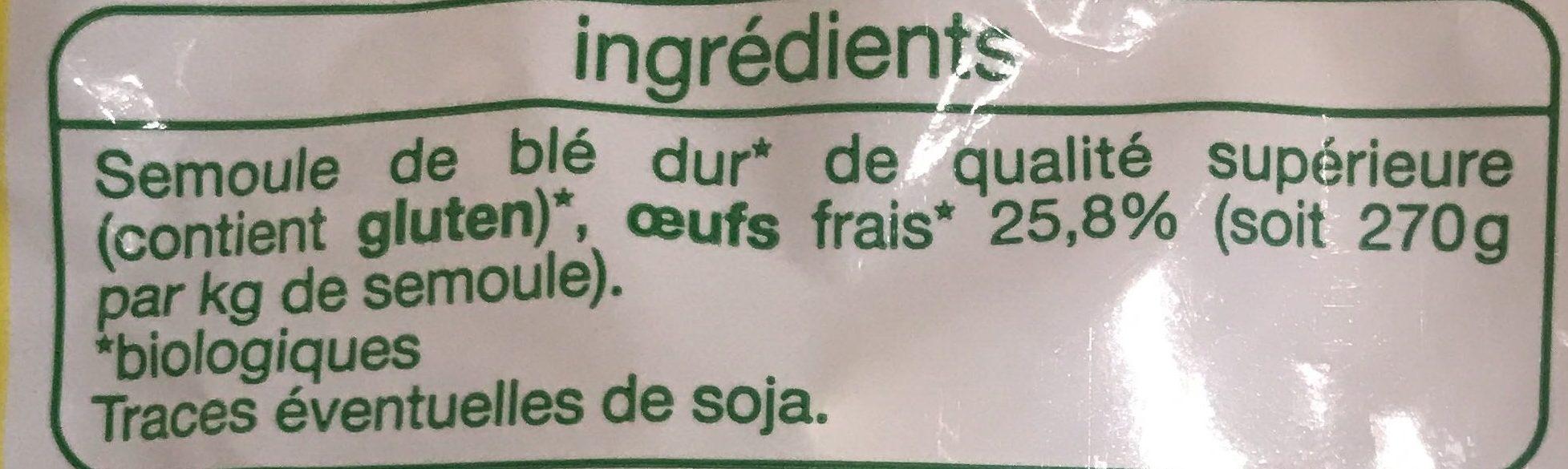 Tagliatelles aux œufs frais Bio - Ingrédients - fr