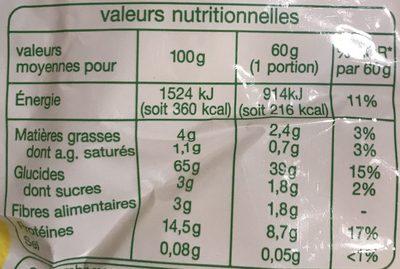 Tagliatelles aux œufs frais Bio - Informations nutritionnelles - fr