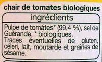 Chair de tomates issues de l'agriculture biologique - Ingrédients
