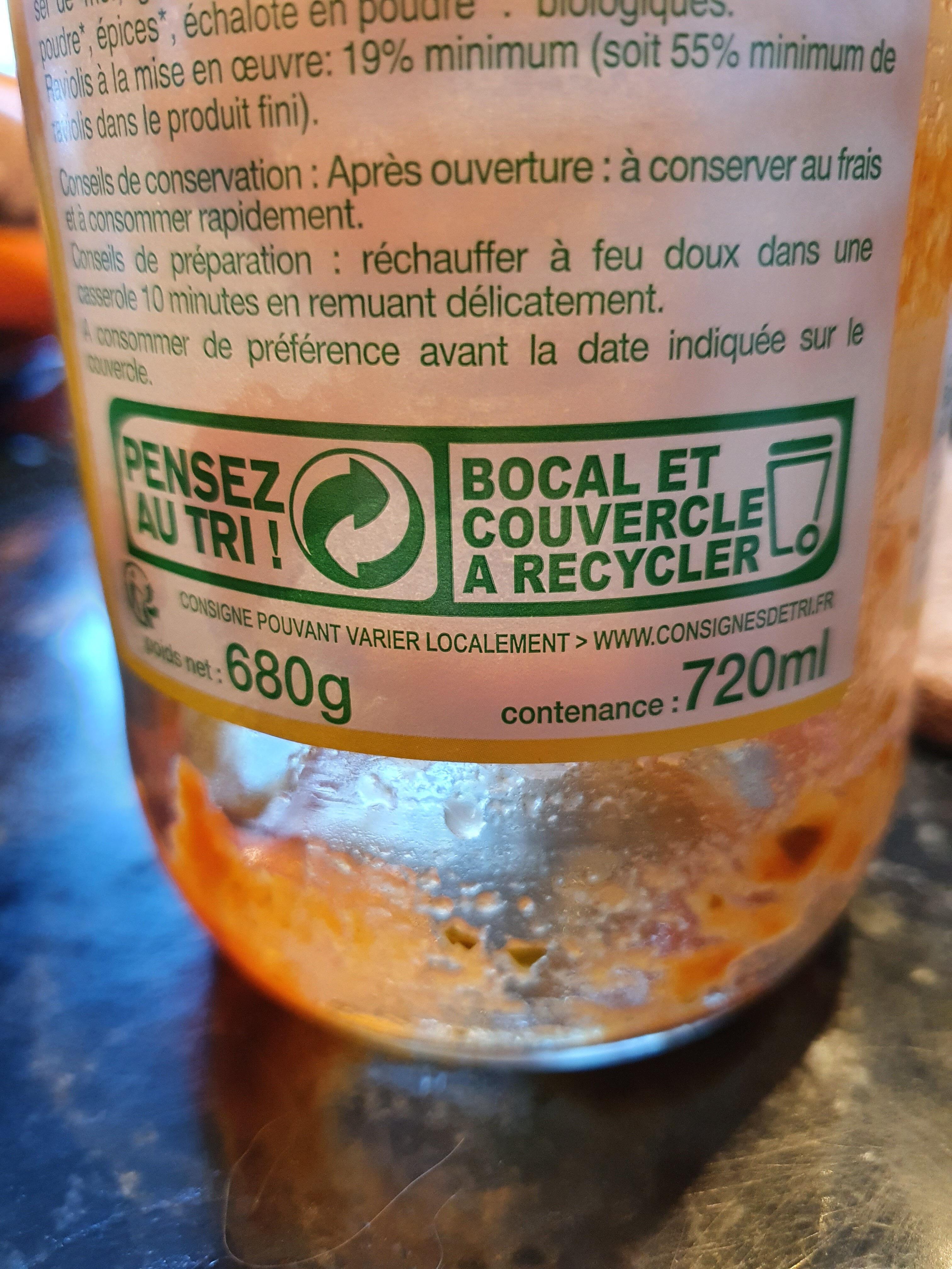 Raviolis végétariens - Recyclinginstructies en / of verpakkingsinformatie - fr