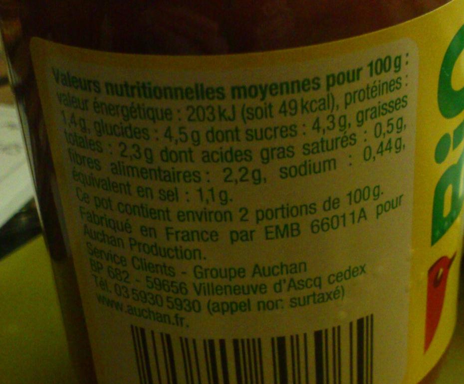 Sauce tomate basilic - Voedingswaarden - fr
