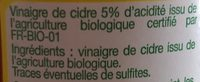 Vinaigre de cidre - Ingrediënten
