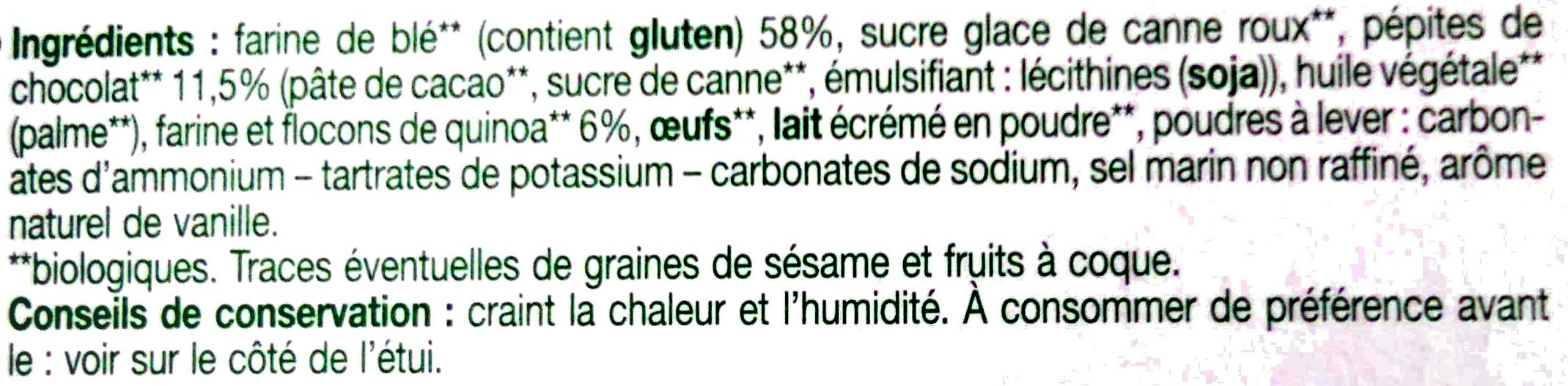 Biscuits quinoa et pépites de chocolat - Ingrédients - fr