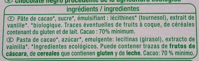 Bio Chocolat noir 70% - Ingrédients - fr