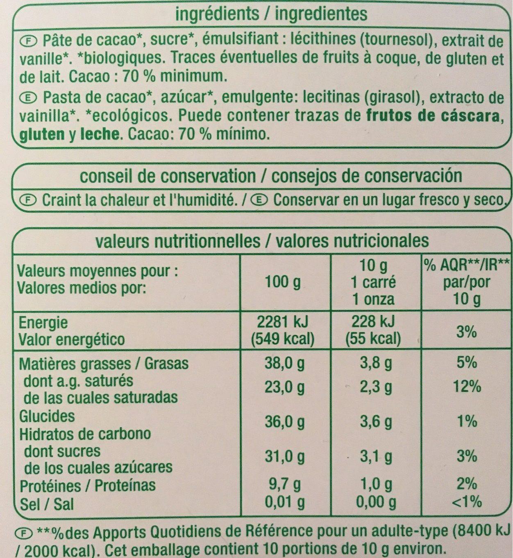 chocolat noir 70 auchan calories valeurs nutritionnelles et avis de consommation. Black Bedroom Furniture Sets. Home Design Ideas