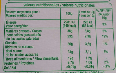 Bio Chocolat noir 70% - Informations nutritionnelles - fr