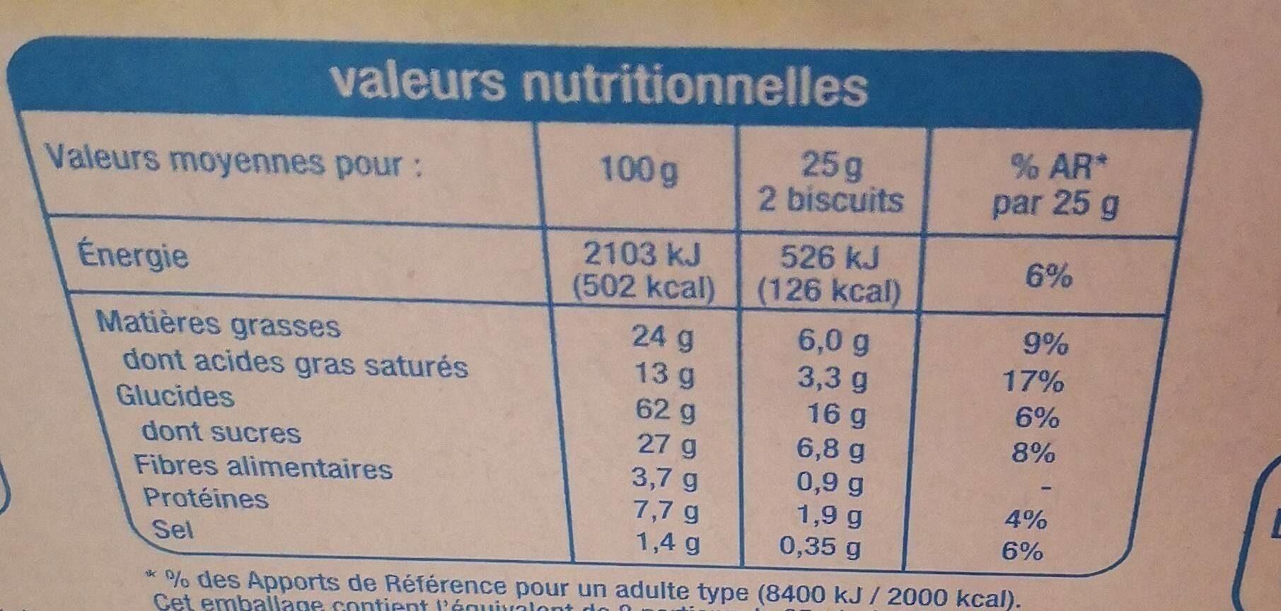 Sablés nappés chocolat au lait - Nutrition facts - fr
