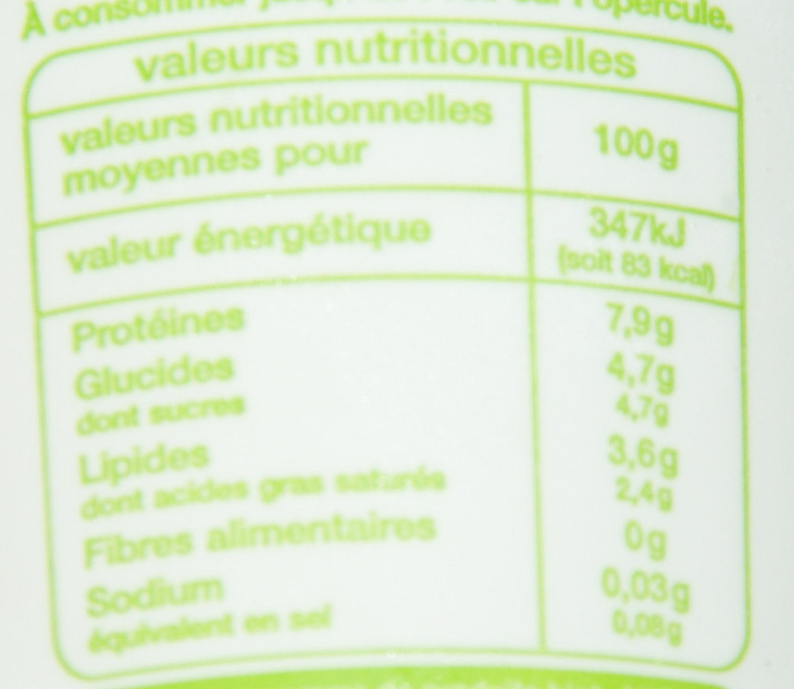 Fromage blanc issu de l'agriculture biologique - Voedigswaarden