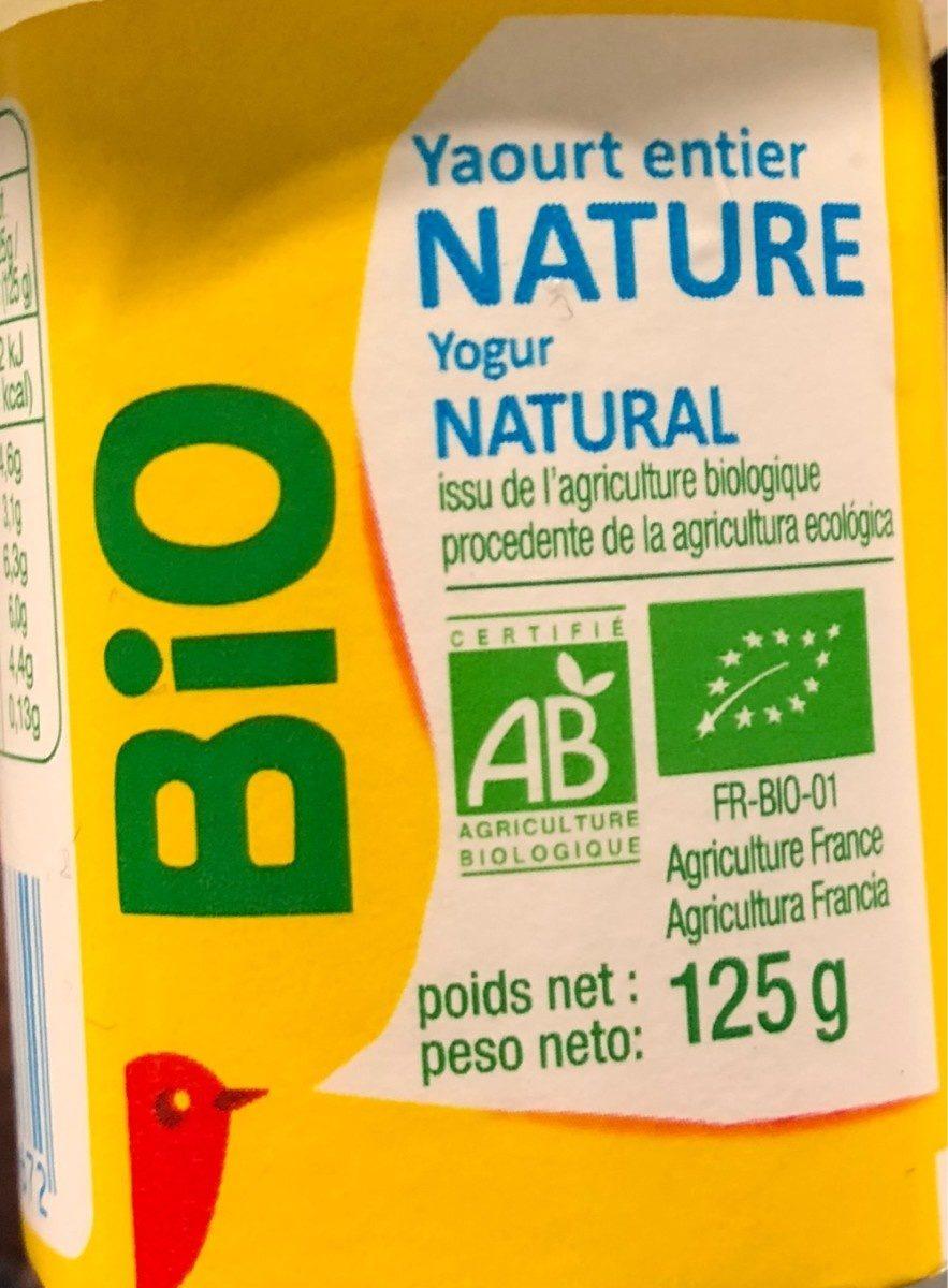 Yaourts entier nature issu de l'agriculture biologique - Product