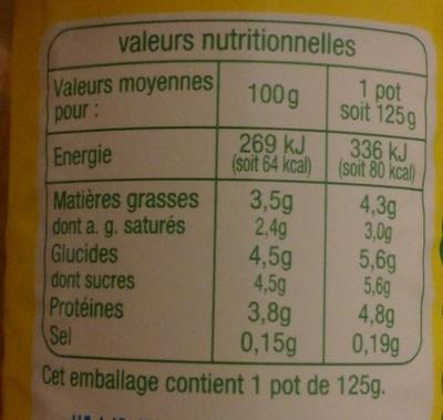 Yaourts entier nature issu de l'agriculture biologique - Voedingswaarden
