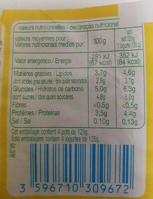 Yaourt nature au lait entier - Voedingswaarden - fr