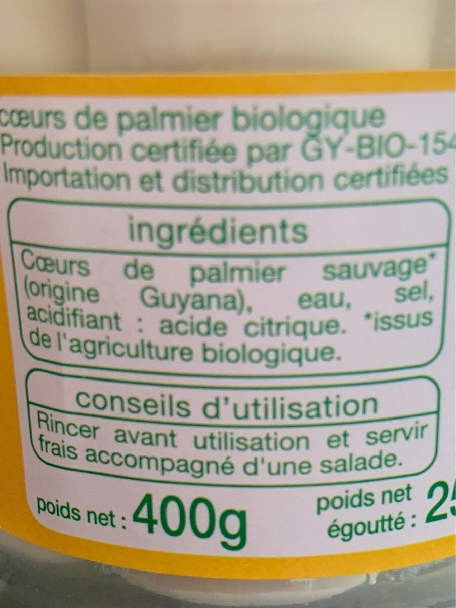 Coeurs de palmier sauvage bio - Ingredients - fr