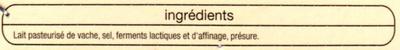 Camembert de Caractère au Lait Pasteurisé (21 % MG) - Ingrediënten - fr