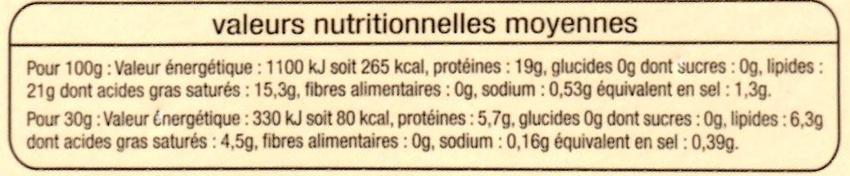 Camembert de Caractère au Lait Pasteurisé (21 % MG) - Voedingswaarden - fr