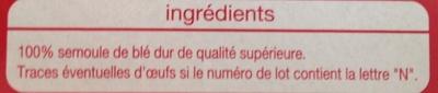 Pâtes lasagnes de qualité supérieure - Ingrédients