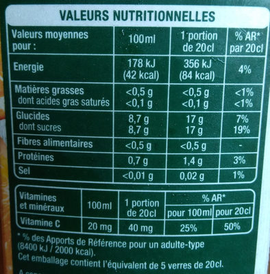 Orange sans pulpe - Informations nutritionnelles - fr