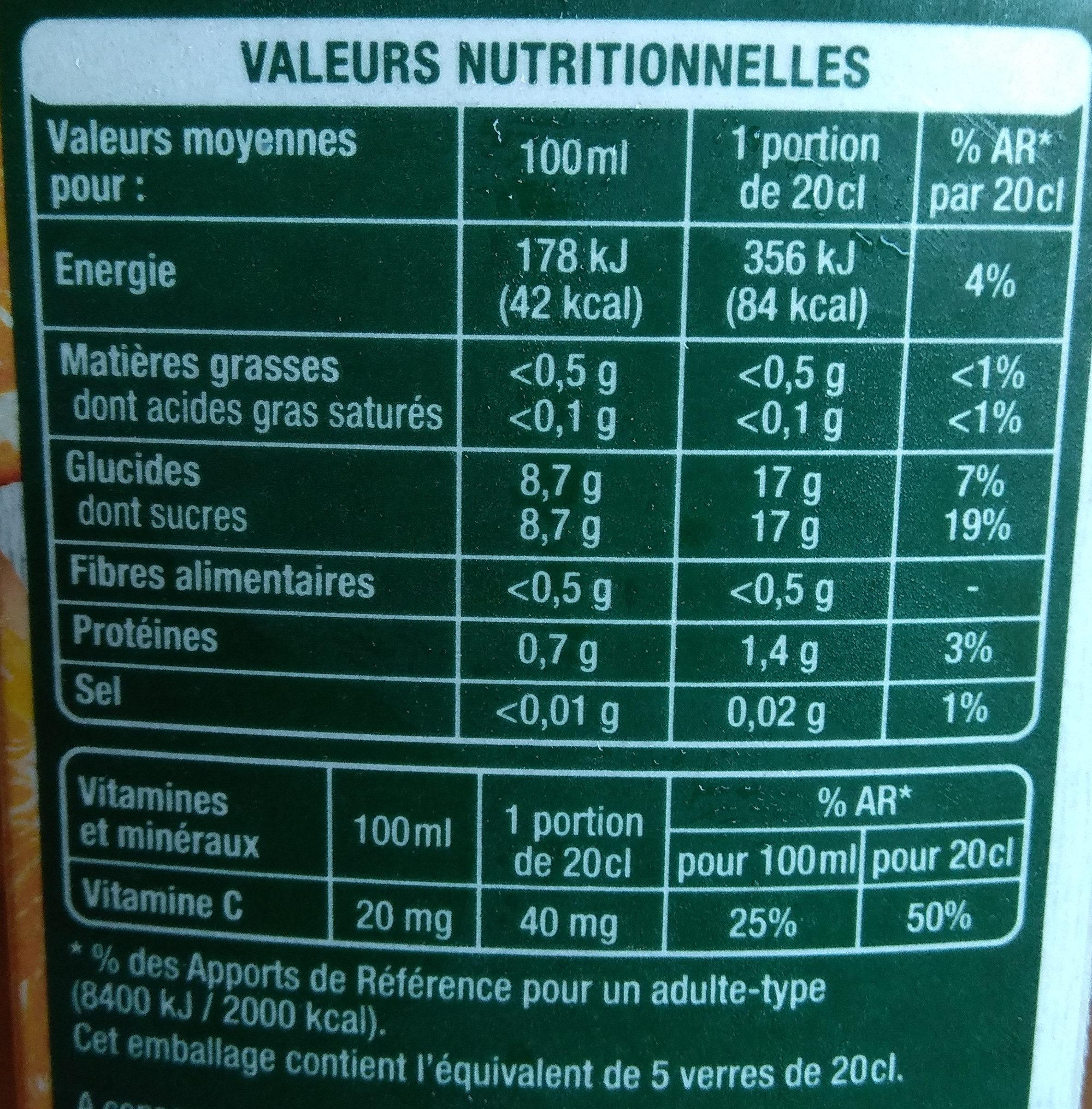Orange sans pulpe - Nutrition facts