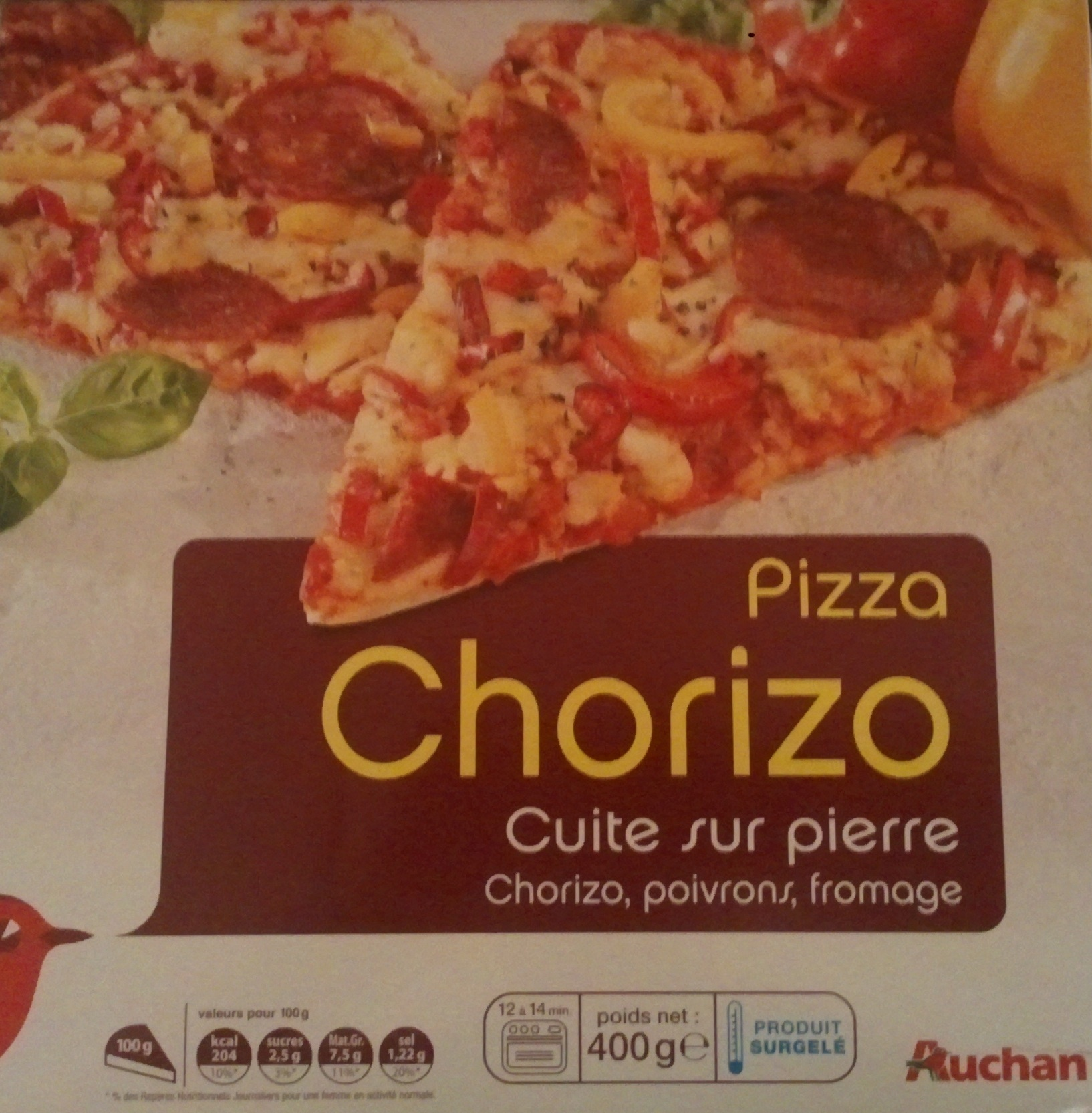 pizza chorizo cuite sur pierre auchan 400 g. Black Bedroom Furniture Sets. Home Design Ideas