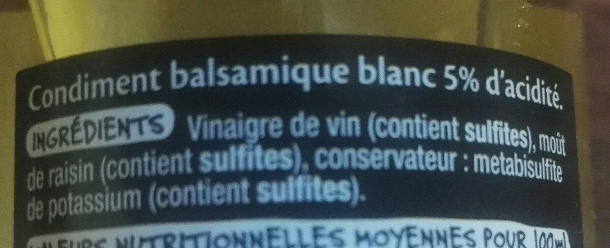 Condiment - Balsamique blanc - Ingrédients - fr