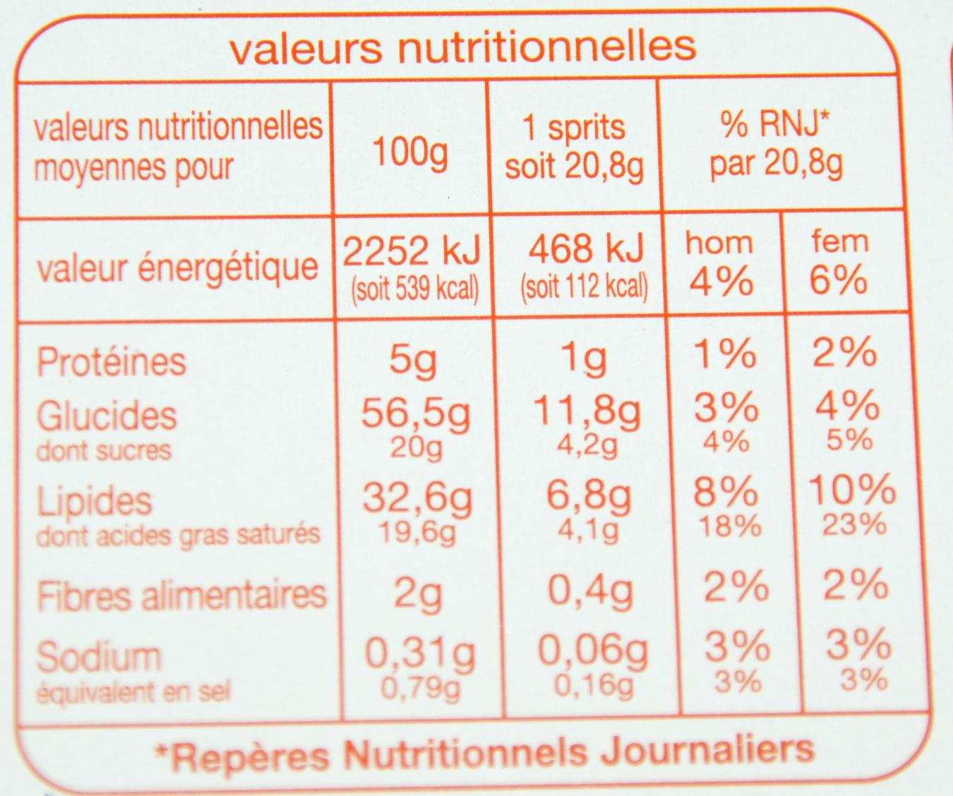 Sprits Pur Beurre - Informations nutritionnelles - fr