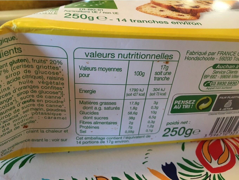 Auchan Cake Aux Fruits Bio - Nutrition facts