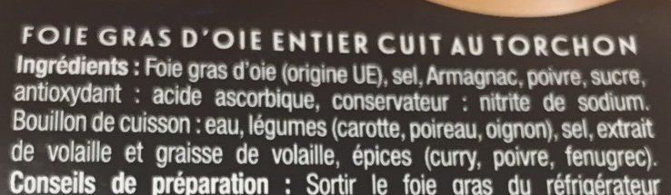 Foie gras d'oie entier cuit au torchon - Ingredients