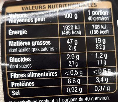 Foie gras d'oie - Nutrition facts