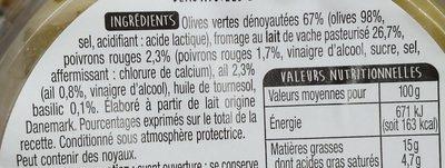 Olives vertes et dés de fromage - Ingrediënten - fr