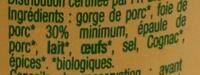 Terrine de campagne Bio - Ingredients - fr