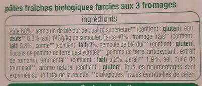 Ravioli 3 fromages - Ingredients