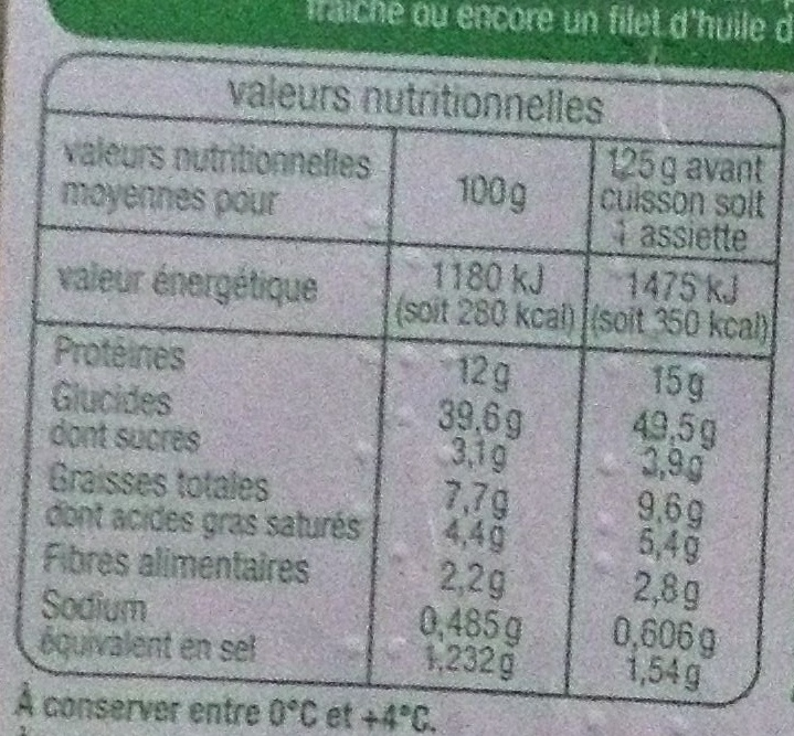 Ravioli 3 fromages - Nutrition facts