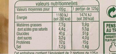 Ravioli 3 fromages - Voedingswaarden - fr