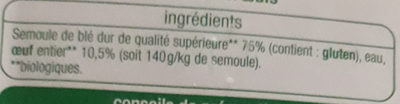 Tagliatelles fraîches bio - Ingredients