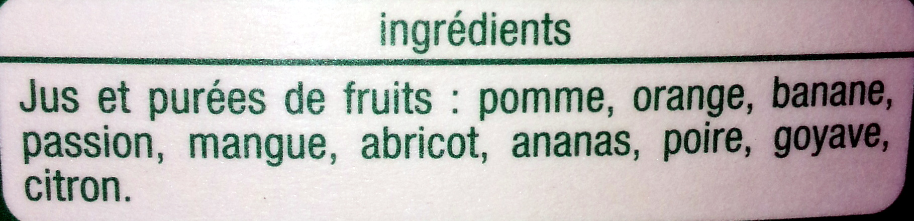 Multifruits pur jus - Ingrédients - fr