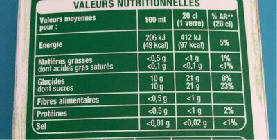Multifruits pur jus - Informations nutritionnelles - fr