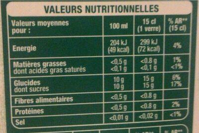 100% pur jus multi fruit - Informations nutritionnelles