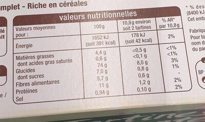 Tartines craquantes au blé complet - Informations nutritionnelles - fr