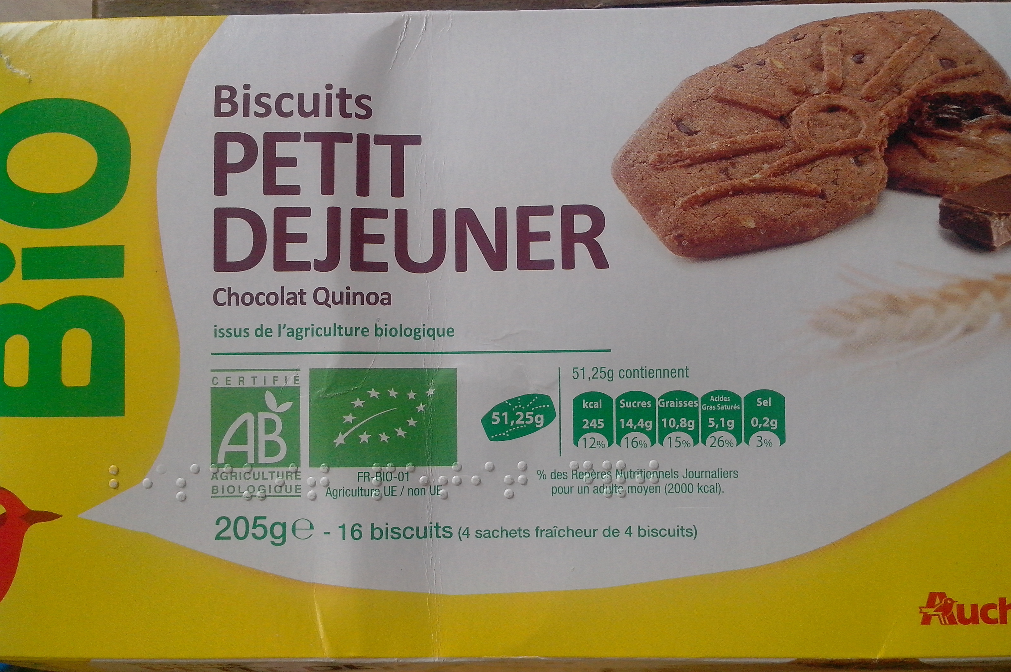 Biscuits Petit Déjeuner Chocolat Quinoa - Product