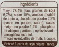 Dessert Soja chocolat - Ingrédients - fr