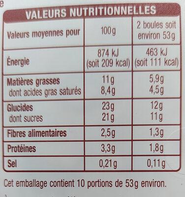 Glace chocolat avec morceaux de chocolat 1 L - Informations nutritionnelles - fr
