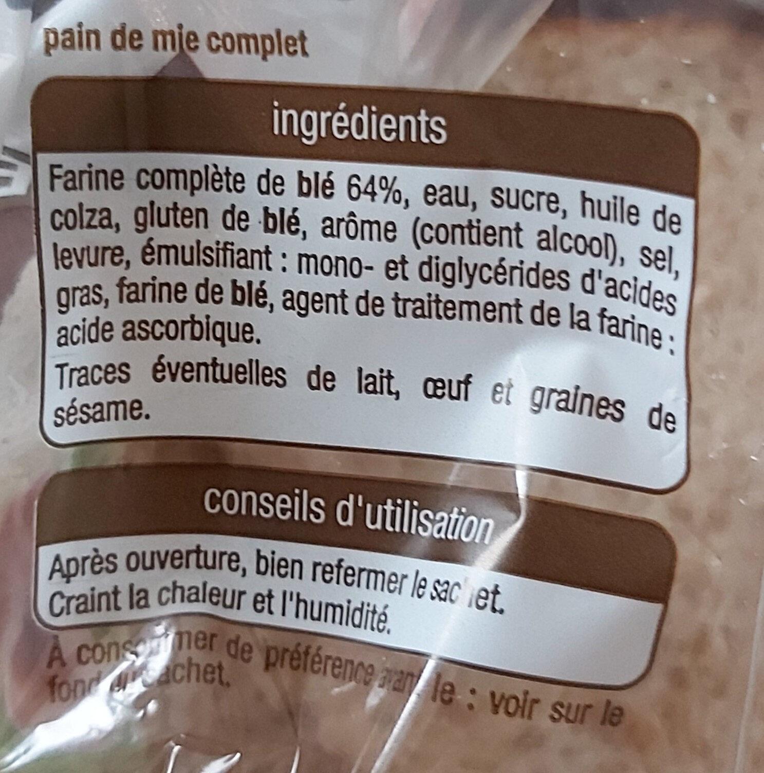 Pain de mie complet spécial sandwich - Ingredienti - fr