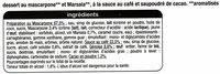 Tiramisu saveur mascarpone - Ingredients - fr