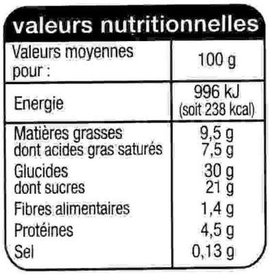 Tiramisu saveur mascarpone - Nutrition facts - fr