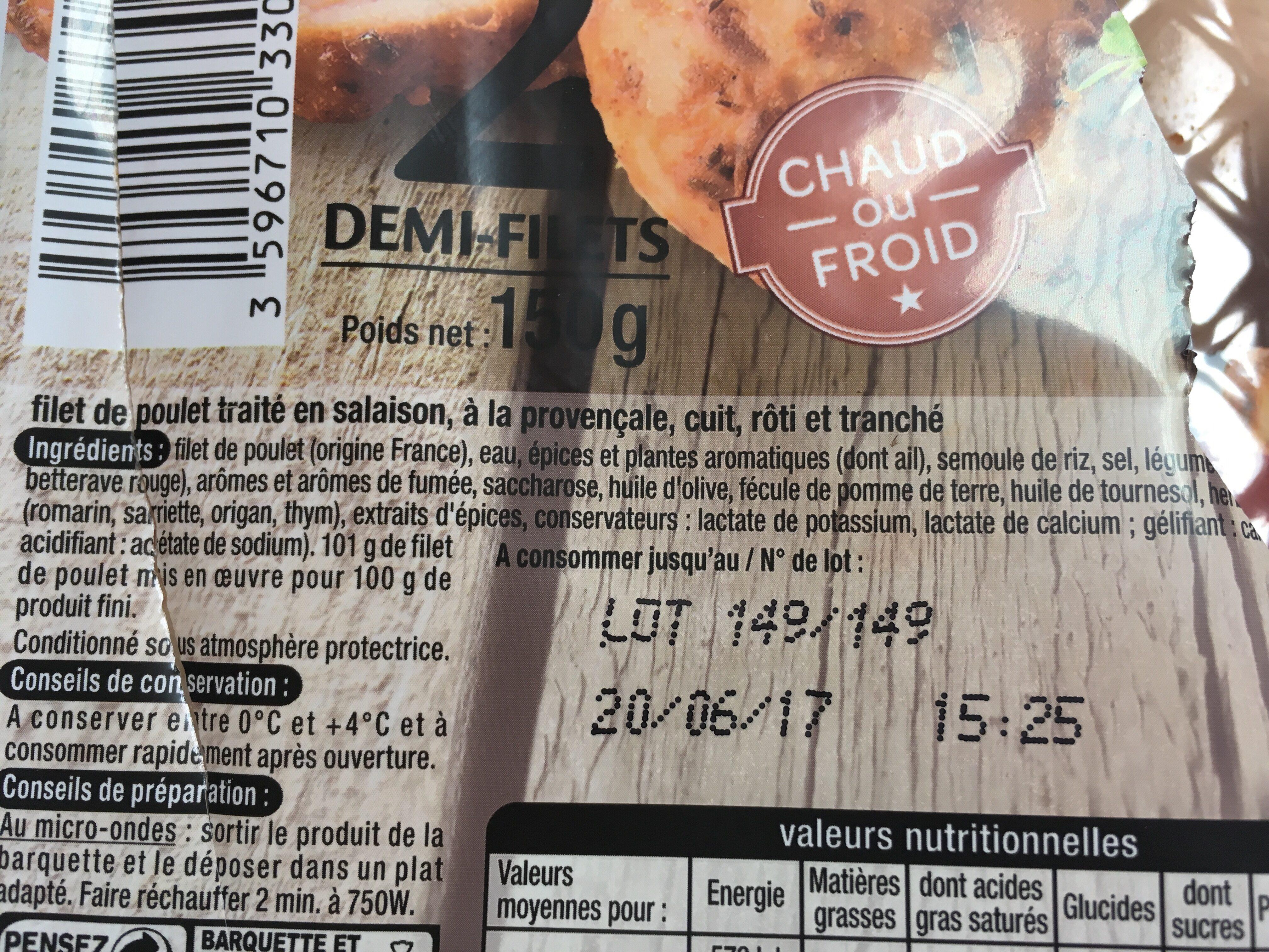 Auchan 1/2 Filets De Poulet à La Provençale - Ingrediënten